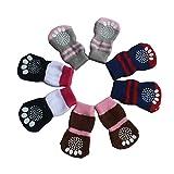 UEETEK 4pcs Calcetín de perro,perros de mascotas calcetín de algodón de algodón hecho punto calcetín...