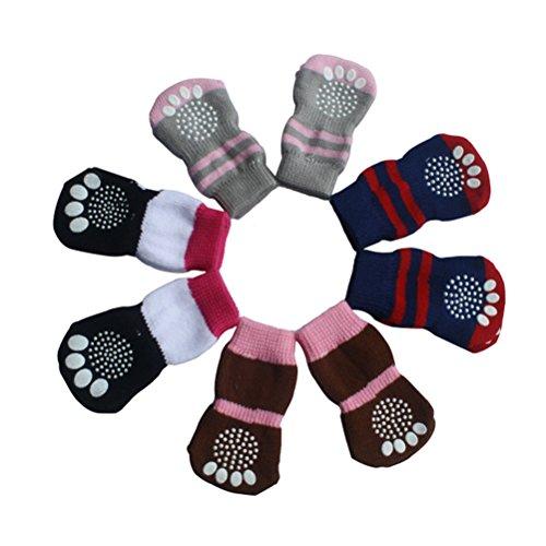 UEETEK 4pcs Calcetín de perro,perros de mascotas calcetín de algodón de algodón...