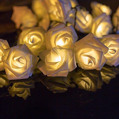 H&D Youngsun® 30er LED Solar Lichterkette Rosen / Blumen 6,35 Meter Außen Innen Warmweiß Beleuchtung