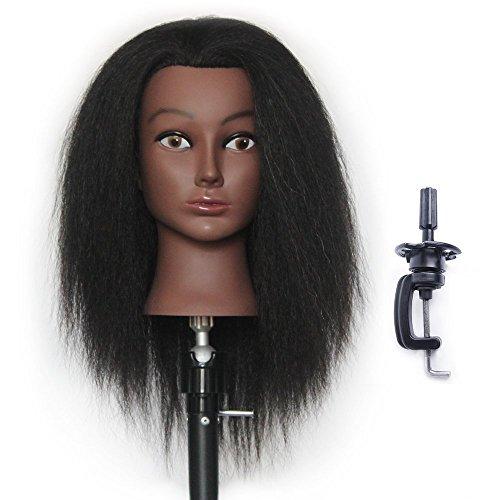 HAIREALM Têtes D'exercice Tête À Coiffer 100% Cheveux Yak Naturel 30 cm Coiffure Cosmétologie Pratique Mannequin Poupée + Titulaire EDK0212D