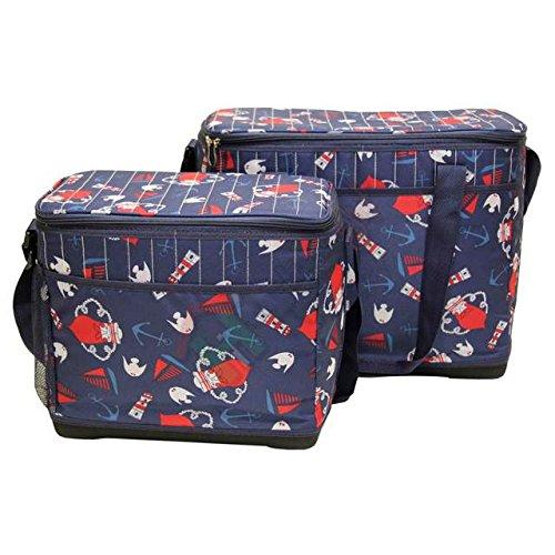 Set 2 borse termiche con fondo rigido vintage blu ibct bauletto viaggio escursioni contenitore per alimenti