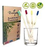 Spazzolini da denti in bambù, confezione da 4, medie, morbide, colorate, naturali, vegani, ecologici, senza BPA, biodegradabili, confezione da 4