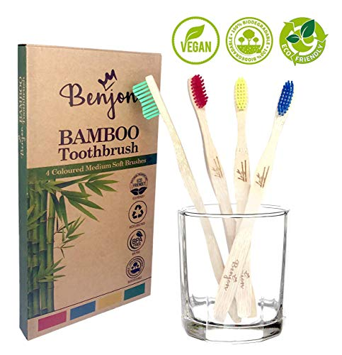 Paquete de 4 cepillos de dientes de bambú