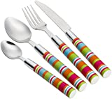 Flamefield Unisex Camper Smiles 16 Piece Stripe Cutlery Set, Multicoloured