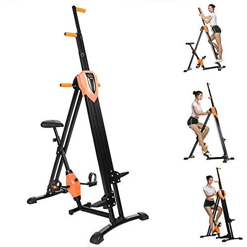 Acecoree 2in1 Vertical Climber, Fitness Stepper Vertikale Kletterer Gym Übung Klettern klappbar, Multifunktion mit Anti-Rutsch Design Ganzkörpertraining Crosstrainer (Orange)