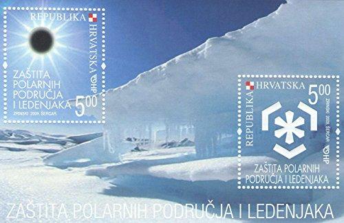 Minifoglio croato rilasciato per la protezione delle regioni polari - foglio 2 francobolli emesso 2009 - Scott # 723 / Croazia /