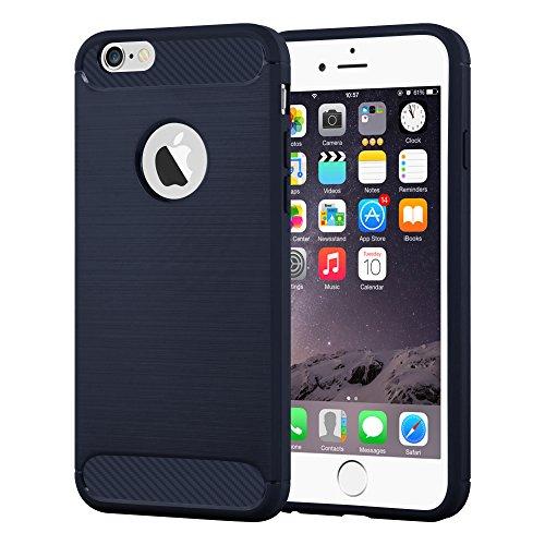 Preisvergleich Produktbild Cadorabo DE-104033 Apple iPhone 6 Plus / iPhone 6S Plus Handyhülle aus TPU Silikon in Edelstahl-Karbonfaser Optik Ultra Slim Soft Back Cover Case Bumper Brushed Blau