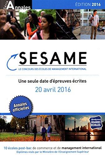 Concours Sesame annales 2016 : Sujets et corrigés officiels