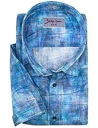 XXL Signum Kurzarmhemd mit Grafikdruck in Blautönen