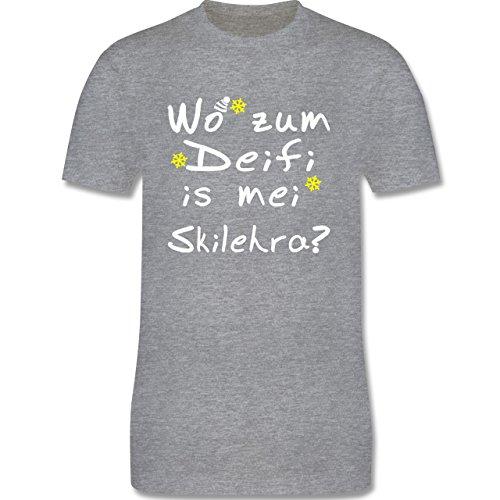 Wintersport Wo zum Deifi is mei Skilehra Herren Premium TShirt Grau Meliert