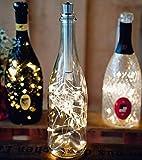 Hellum 524451 3er-Set LED Flaschen-Lichterkette mit Metall-Korken für Flaschenhalsdurchmesser 1,8cm - 2,2cm / 3 x 20 wamweiße LEDs/Timerfunktion / 1,9 m
