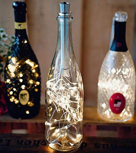 3er-Set LED-Flaschenlichterkette mit Metall-Korken