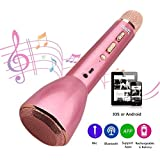 Micrófono Inalámbrico, Micrófono Bluetooth, Micrófono Karaoke Portátil con Altavoz Incorporado para KTV, Compatible con PC/iPad/iPhone/Smartphone