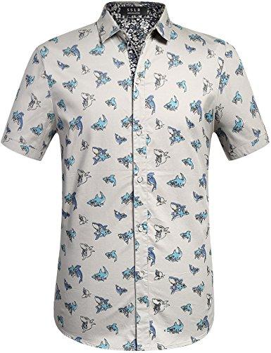 SSLR Herren Fisch Druck Slim Fit Casual Button Down Kurzarm Hemd (Medium, Grau) (Halloween-muster Einfachheit)