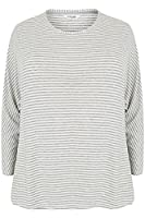 Yoursclothing Plus Size Womens Stripe Long Sleeve Pyjama Top Size 14-16 Grey