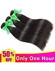 LANANEL Mèches Brésiliennes lot de Tissage Bresilien Extensions de Tissage Cheveux Naturel Brésilienne Boucle 3 faisceaux Straight Cheveux Humains 10 12 14 pouceTissage Brésilien en lot Lisse