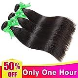 LANANEL Mèches Brésiliennes lot de Tissage Bresilien Extensions de Tissage Cheveux Naturel Brésilienne Boucle 3 faisceaux Straight Cheveux Humains 16 18 20 pouceTissage Brésilien en lot Lisse