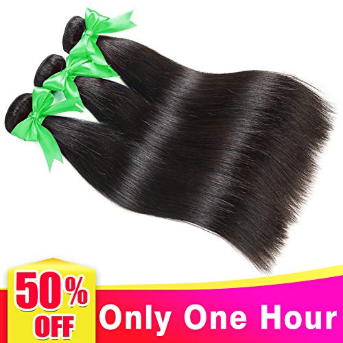 Human Extensions (Lananel Straight Human Hair Bundles 100% Menschliches Haar 16 18 20 inch Virgin Brazilian Straight Hair 3 Bundles Human Hair Extension Brasilianisches Haar Bündel Straight Weave Hair 300g/lot)