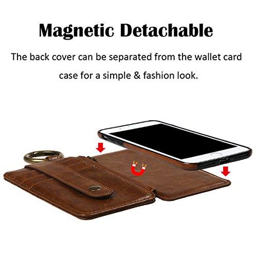 """Hülle für iPhone 6 6S, xhorizon Erstklassiger weicher PU-Leder-magnetischer abnehmbarer Telefon-Kasten Tragetasche Geldbörse mit Kartensteckplätzen und Schlüsselanhänger Ring für iPhone 6 6S [4.7""""] Braun"""