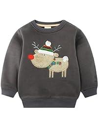 mimiwinga- Sudadera Manga Larga de Niños para Navidad Invierno Otoño Chandal Ropa Infantil Jersey Sweatershirt Kid Winter Christmas - Verde Gris Rojo