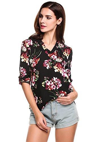 Bluse Damen Blumen, Sondereu 3/4 Ärmel V Ausschnitt Floral Top Oberteil Shirt für Sommer Schwarz