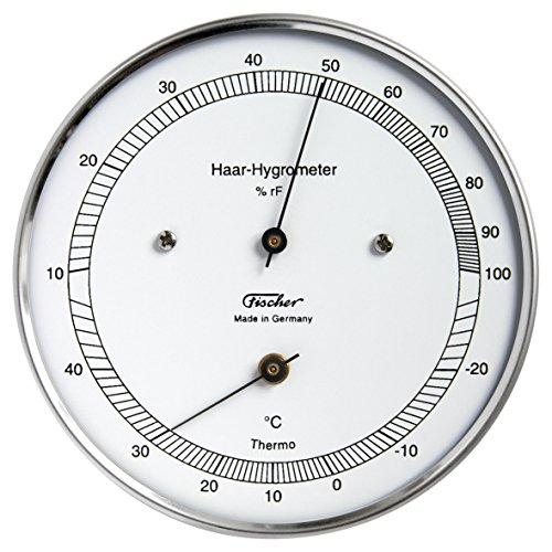 Haar-Hygrometer mit Thermometer von Fischer, Serie Präzis, Edelstahlgehäuse 100mm, Artikel 111.01T, Made in Germany