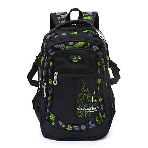 Schulrucksack für Jungen Schulrucksack Rucksack Jugendlichen Schultasche Outdoor Freizeit Daypack (Green)