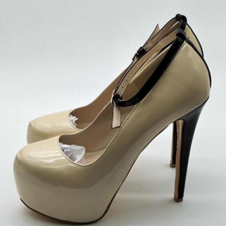 VIVIOO Prom Sandals scarpe,Novelty Fashion,Beige Leather,4.5 Cm Waterproof,14.5 Waterproof,14.5 Waterproof,14.5 Cm High Heels,Round Toe Pumps.... | Eleganti  | Maschio/Ragazze Scarpa  525e70