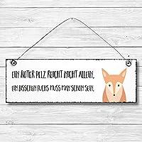 Ein roter Pelz - Fuchs Dekoschild Türschild Wandschild aus Holz 10x30cm - Holzdeko Holzbild Deko Schild zur Dekoration Zuhause im Büro auch perfekt als Geschenk Mitbringsel zum Geburtstag Hochzeit Weihnachten für Familie Freundin Mutter Schwester Tochter