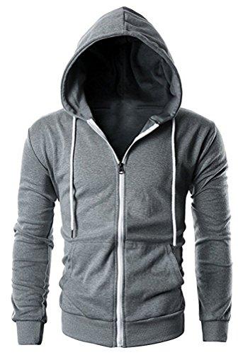 Brinny Herren Kapuzenpullover Hoodie mit Tasche - Pullover Kapuze Sweatjacke Sweatshirt Langarm WY04-Dunkelgrau