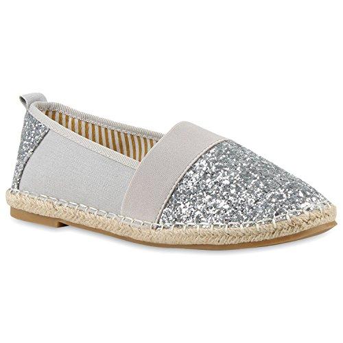 Damen Espadrilles | Bast Slipper | Glitzer Sommerschuhe | Metallic Flats Pailetten | Stoff Schuhe Plateau Silber