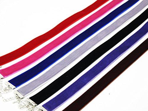 4U Choker Samt Kette Set,7er Halsband Halsketten Kropfband Modeschmuck Fashion Bijouterie für Mädchen Mädel Kinder Frauen aus Samt Velvet, elegant u. Charm(7-farbig, 15mm breit)