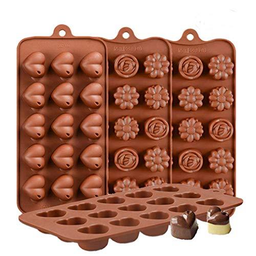 KBstore 4 Pack Moldes de Bombones de Silicona - Forma de Corazón Flor Molde de Silicone para Chocolate/Caramelo de Café/Cubo de Hielo/Gelatina