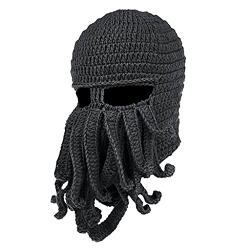 Sharplace Unisex Bart Hut Stricken Beanie Mütze Winter Warm Krake Hut Lustig - Dunkelgrau (Stricken-gesicht-maske)