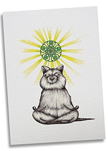 Ligarti Postkarte Yogibär - Premium Bambus Papier 350g - 100% Handmade in Deutschland - Yoga Bär Sonne Erleuchtung, Postkarte, Grußkarte, Geschenkkarte, Einladung