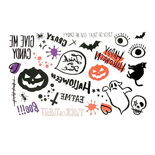 (Oottati Halloween Sortiment Finger Temporäre Tattoo Schwarz Kürbis Geist Katze Spinne Auge Orange Lila Herz (Set mit 2))