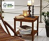 SAM Beistelltisch Marit, 45 x 45 cm, Akazie-Holz geölt, Ablagetisch mit 2 Fächern, FSC zertifiziert