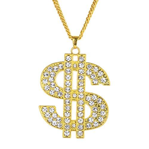 Gazechimp Collar Colgante Cadena Color Oro Estilo Hip Hop Accesorios de Moda Unisex - estilo 3 (forma dólar)