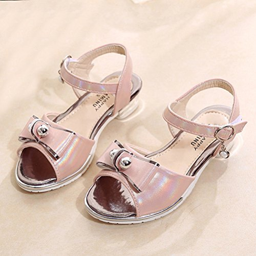 Zhhlinyuan Girls Lovely Bowknot Party Sandals Fashion Kids Summer Princess Shoes L021 pink