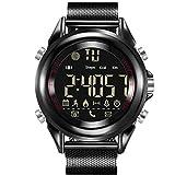 Reloj deportivo inteligente Relojes 30 metros impermeable Correa inoxidable Multifunción Bluetooth Control remoto de la cámara, Recordatorio de llamada, Información Social Recordatorio , black