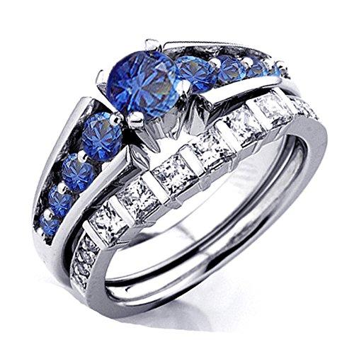 DazzlingRock Collection Damen 10K Gold Prinzessin & Runden Weißen Diamanten Und Blauen Saphir Braut Engagement Eingestellt 5.5