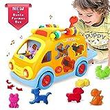 ACTRINIC Baby Spielzeuge 6-12 Monate Musikalische Form Sortierung Bump&Go Action Bus Früherziehung Spielzeug Musik / Tierstimmen / Lichter /Tierpuzzle Spielzeuge ab 1 2 3 4 Jahre Alte Jungen Mädchen