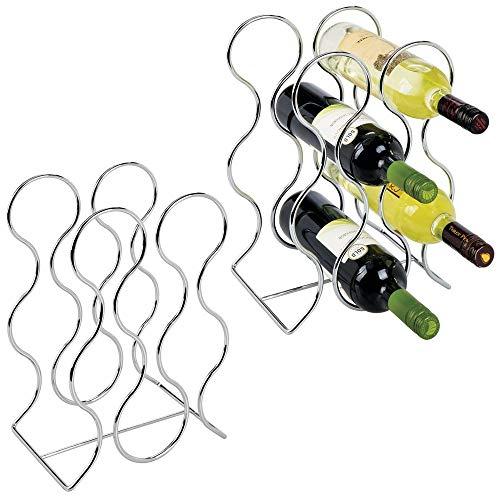 mDesign 2-er Set Weinflaschenhalter freistehend für 6 Flaschen - Weinregal aus Metall - modernes Weinzubehör für Jede Küche - Flaschenhalter für Diverse Flaschen gleicher Größe - silberfarben