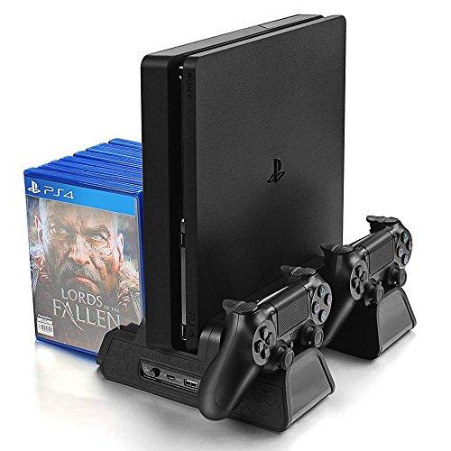 VOIMAKAS PS4/PS4 Slim/PS4 Pro Vertikaler Standfuß, PS4 Ständer mit PS4 Controller Ladestation und 3 Eingebaute Kühler Lüfter und Ladekabel & 12 Spiele Discs Sitze, Schwarz (Spielen 3 Controller)