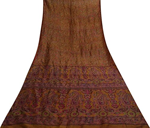 Vintage Indian 100% Seide Brown Saree Blatt Gedruckt Ethnische Craft Fabric 5 Yds