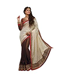 IndiWeaves Women South Cotton Gold Print+Georgette Butti+Gold Coating Embroidered White+Coffee Saree.