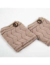 Brazo Calentador Pierna Conjuntos de Patas de Leggings de Punto de Lana Botas de Doble Calcetines