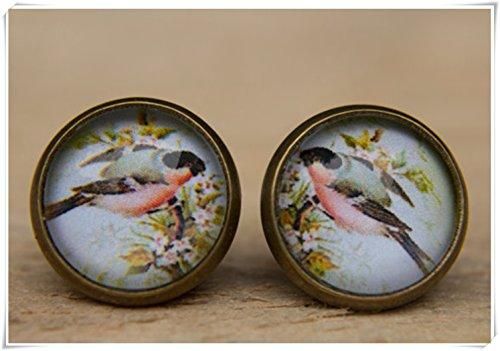 liu zhong fang Vogel Ohrringe, Ohrstecker, Post Ohrringe Vögel, kleinen Nieten, Dome Glas Schmuck, Pure handgefertigt