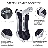Yandu Car Doorstep Vehicle Folding Ladder Foot Pegs Hooked on U Shaped Latch with Safety Hammer, Easy Access to Car Rooftop for Jeep, SUV, Off-Road Car (Black/Silver)