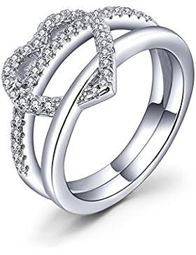 YL Jewelry 925 Sterlingsilber Zirkonia mit Weißgold überzogene Herz Ring Schmuck
